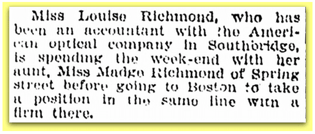 newspaper article about Madge Richmond, Springfield Republican 16 November 1919