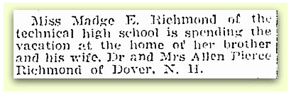 newspaper article about Madge Richmond, Springfield Republican 30 December 1917