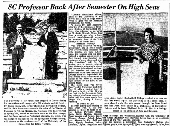 SC Professor Back after Semester on High Seas, Springfield Union newspaper article 23 February 1964
