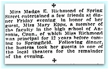 newspaper article about Madge Richmond, Springfield Union 20 April 1914