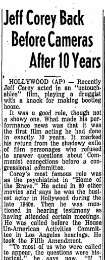 Jeff Corey Back before Cameras after 10 Years, State Times Advocate newspaper article 17 January 1961