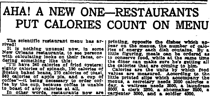 Aha! A New One--Restaurants Put Calories Count on Menu, Times-Picayune newspaper article 12 May 1918
