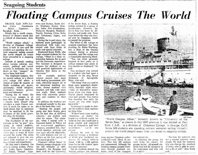 Floating Campus Cruises the World, Trenton Evening Times newspaper article 10 December 1967