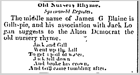 Old Nursery Rhyme, Wheeling Register newspaper article 24 June 1884