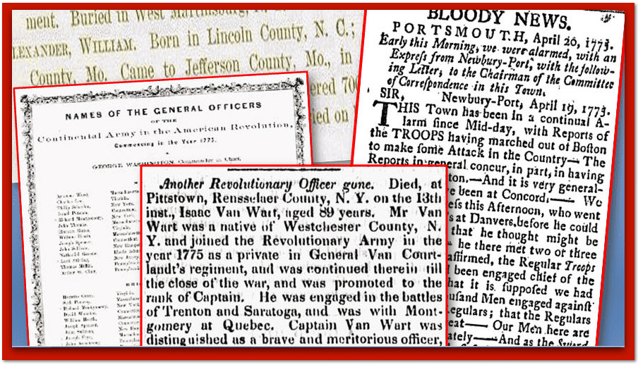 American Revolutionary War Newspapers Collage