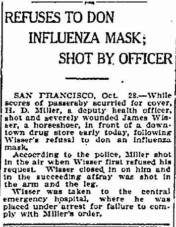 Refuses to Don Influenza Mask; Shot by Officer, Bellingham Herald newspaper article 28 October 1918