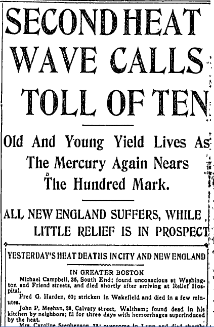 Second Heat Wave Calls Toll of Ten, Boston Journal newspaper article 11 July 1911