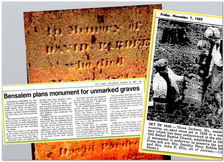 Historic Cemeteries and Unmarked Graves Newspaper Articles