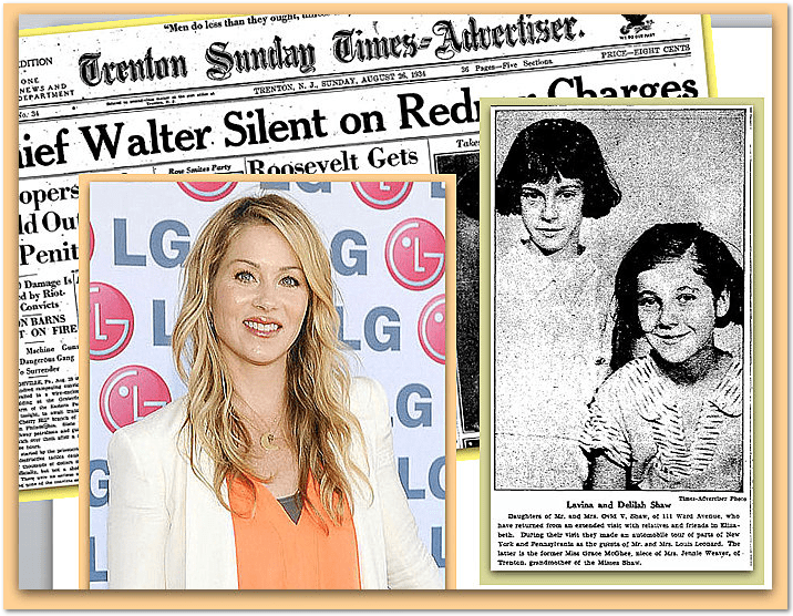 collage of a photo of American actress Christina Applegate and a newspaper clipping of her ancestors