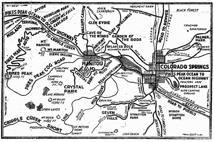 map of Colorado Springs and Pikes Peak, Colorado Springs Gazette newspaper article 20 August 1922