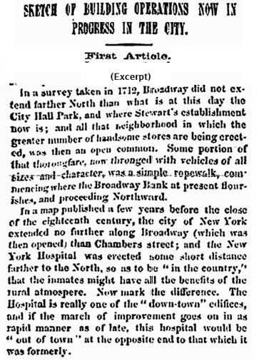 Sketch of Building Operations Now in Progress in the City, Commercial Advertiser newspaper article 9 July 1860