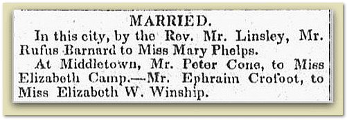 wedding announcement for Ephrim Crofoot and Elizabeth Winship, Connecticut Mirror newspaper article 1 May 1830