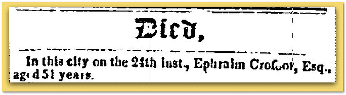 Constitution Newspaper March 3, 1852 Ephraim Crofoot Death Notice