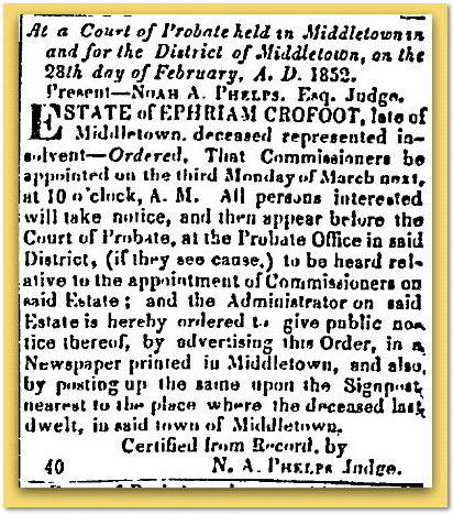 Constitution Newspaper 1852 Ephraim Crofoot Probate Notice