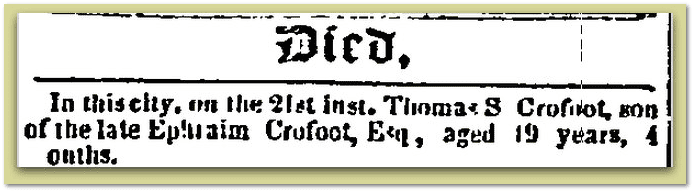 death notice for Thomas Crofoot, Constitution newspaper article 25 August 1852