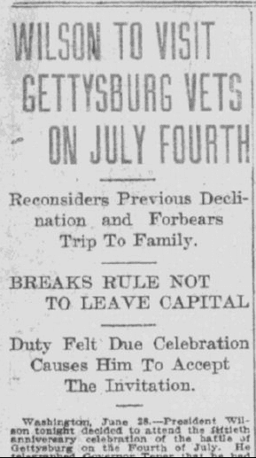Wilson to Visit Gettsyburg Vetson July Fourth, Daily Oklahoman newspaper article 29 June 1913