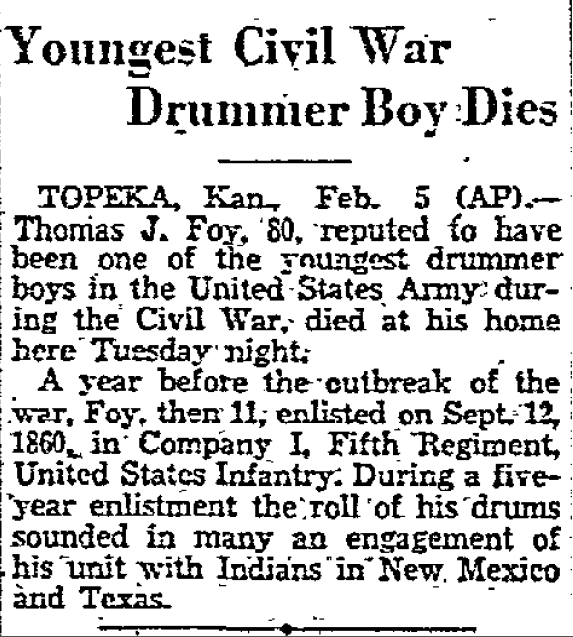 Youngest Civil War Drummer Boy Dies, Dallas Morning News newspaper article 6 February 1930
