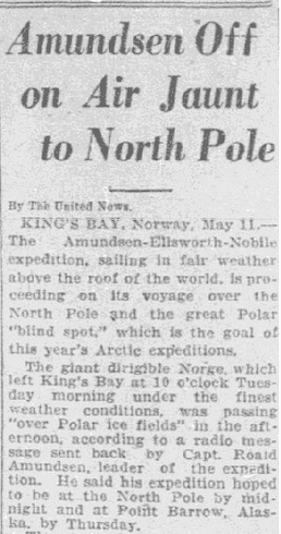 Amundsen Off on Air Jaunt to North Pole, Dallas Morning News newspaper article 12 May 1926