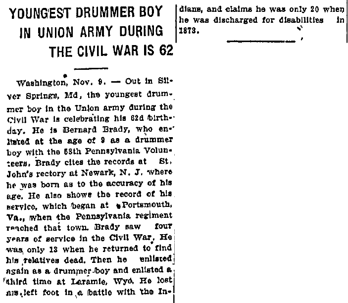 Youngest Drummer Boy in Union Army during the Civil War Is 62, Evening News newspaper article 9 November 1915