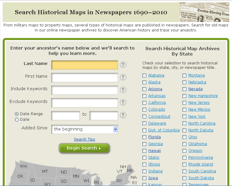 GenealogyBank's Historical Maps search page