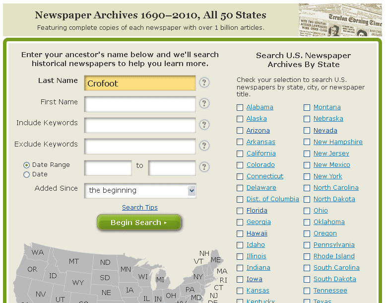 screenshot of GenealogyBank's newspaper search page for Crofoot