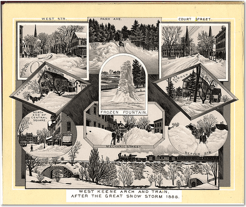 collage of scenes from the Blizzard of 1888 in Keene, New Hampshire