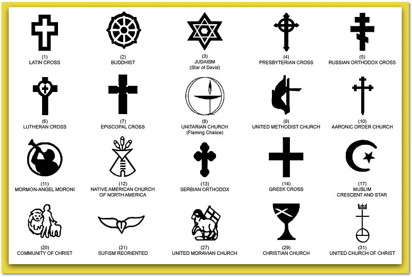 illustration of the religious symbols available for the government headstones furnished for the graves of military veterans
