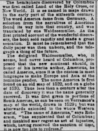 notice about map-maker Waldseemüller, Irish World newspaper article 20 February 1892