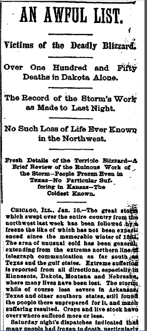 An Awful List: Victims of the Deadly Blizzard, Kansas City Times newspaper article 17 January 1888