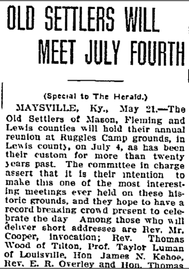Old Settlers Will Meet July Fourth, Lexington Herald newspaper article 22 May 1912
