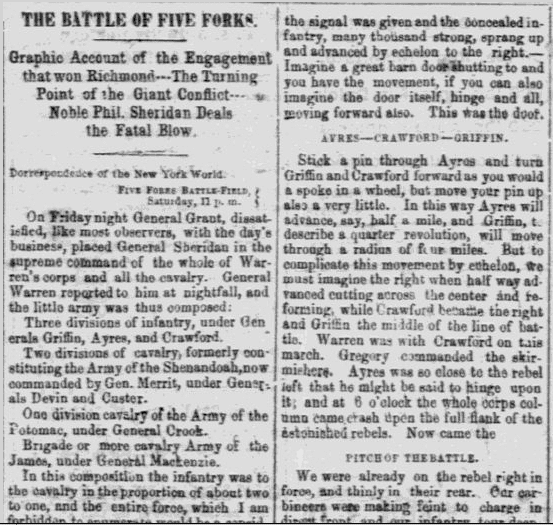 Civil War Battle of Five Forks Newspaper Article - Milwaukee Sentinel