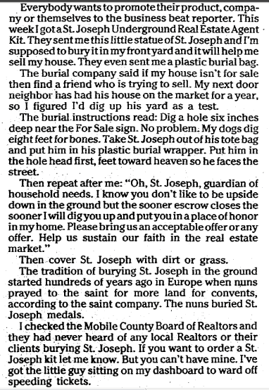 notice about a superstition involving real estate and St. Joseph, Mobile Register newspaper article 7 April 1991