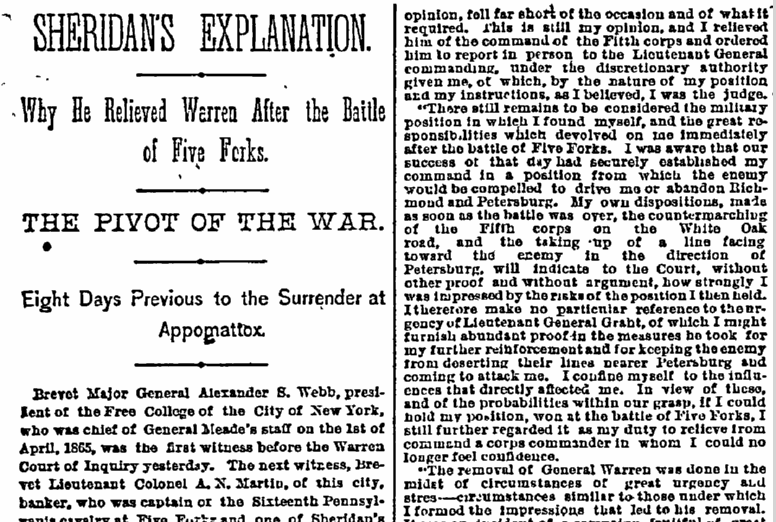 Sheridan Warren Civil War Battle of Five Forks Newspaper Article - NY Herald