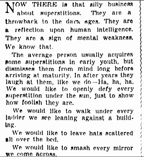 notice about superstitions, Omaha World Herald newspaper article 22 May 1938