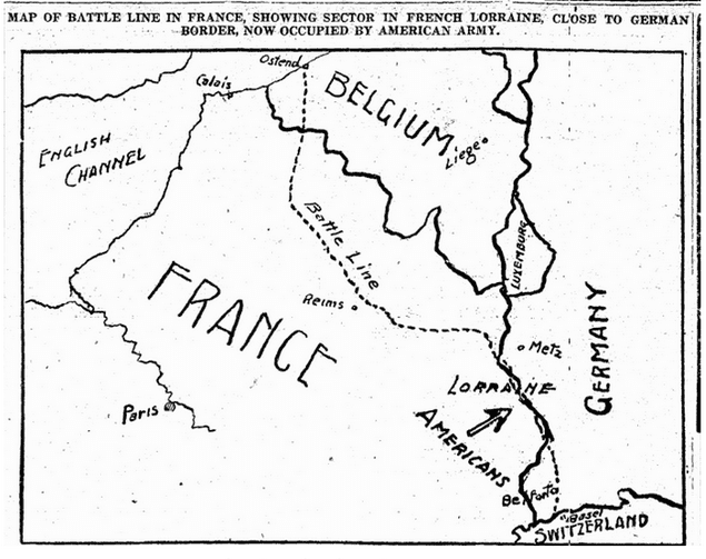map of WWI battle line in France, Oregonian newspaper article 4 February 1918