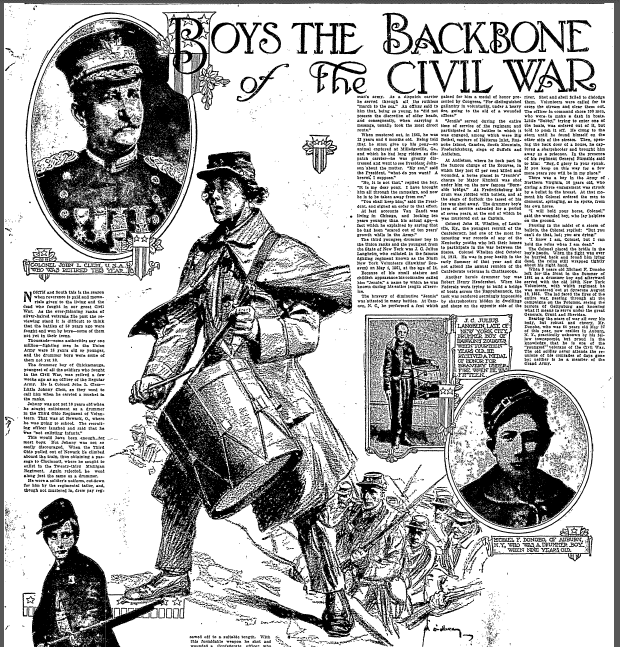 Boys the Backbone of the Civil War, Oregonian newspaper article 30 May 1915