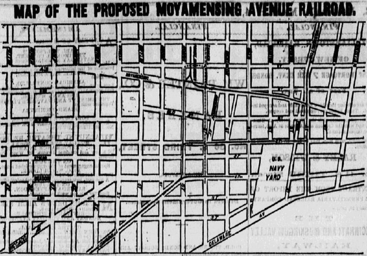 map of the 1872 Moyamensing Avenue Railroad project in Philadelphia, Philadelphia Inquirer newspaper article 4 March 1872