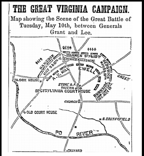 map of the 1864 Civil War battle at Spotsylvania, Philadelphia Inquirer newspaper article 14 May 1864