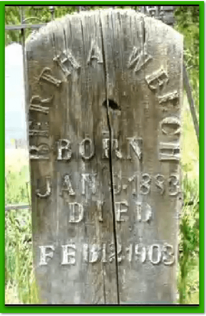 photo of Bertha Welch's wooden tombstone in historic Valley View Cemetery in Breckenridge, Colorado