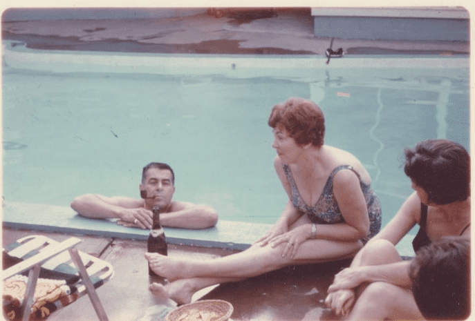 photo of Scott Phillips' parents celebrating July Fourth by a swimming pool