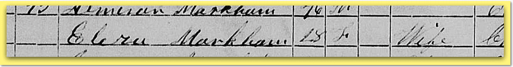 photo of the listing of Eliza Markham in the 1855 New York State Census