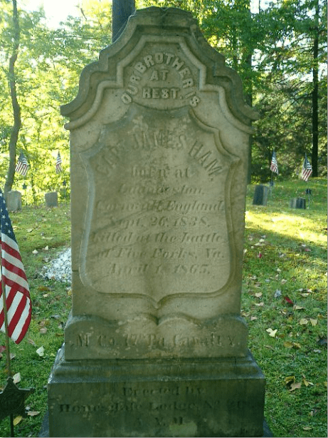 Gravestone of James Ham - A Civil War Veteran