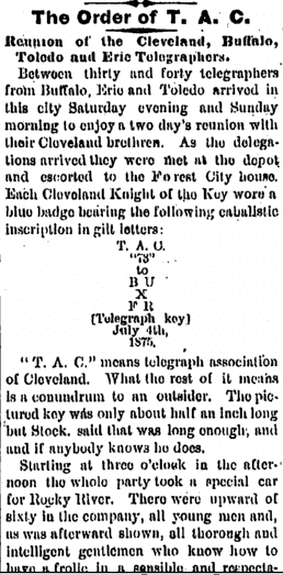 Reunion of the Cleveland, Buffalo, Toledo and Erie Telegraphers, Plain Dealer newspaper article 6 July 1875