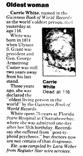 Oldest Woman, Register Star newspaper article 15 February 1991