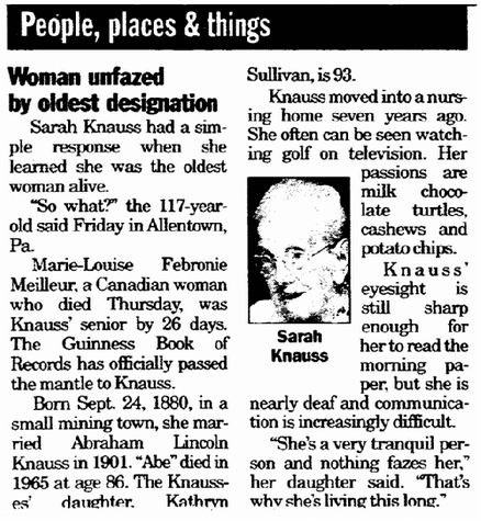 Woman Unfazed by Oldest Designation, Register Star newspaper article 19 April 1998