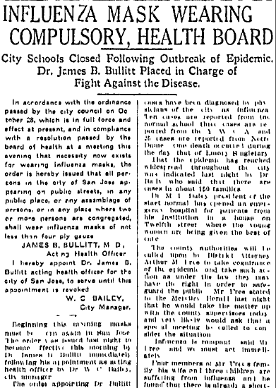 Influenza Mask Wearing Compulsory: Health Board, San Jose Mercury News newspaper article 11 December 1918