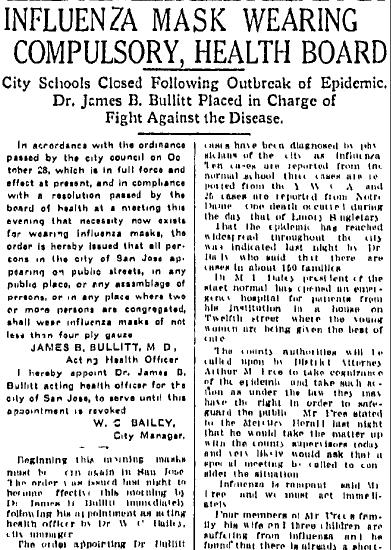 Influenza Mask Wearing Compulsory: Health Board, San Jose Mercury News newspaper article 11 December 1918