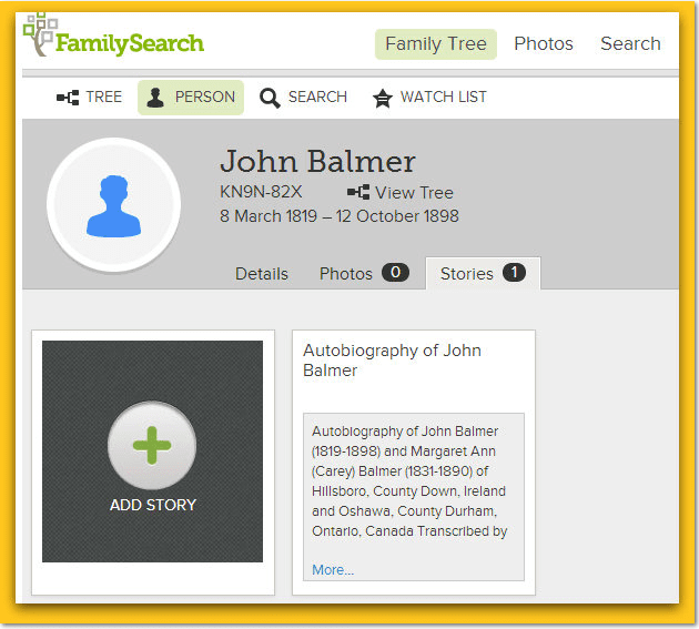 screenshot of John Balmer's journal on FamilySearch.org