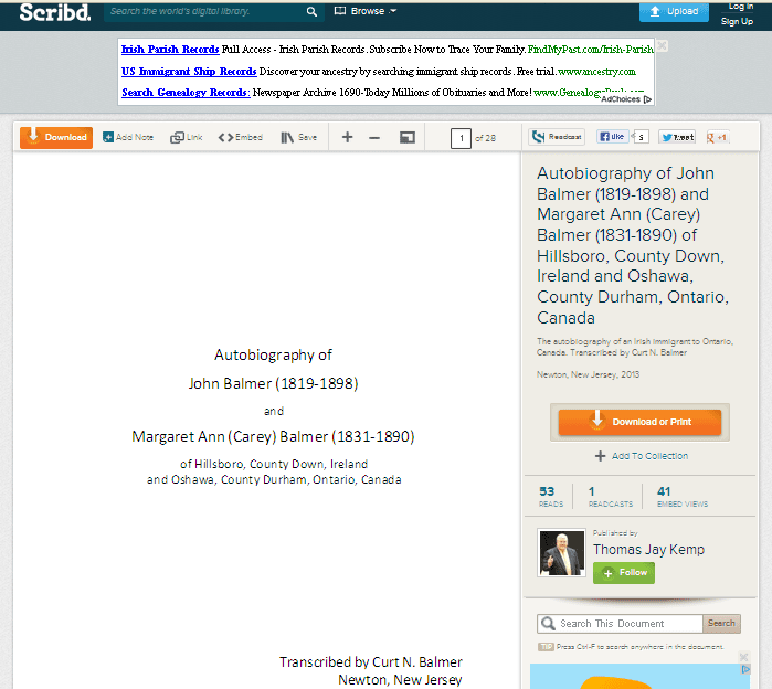 screenshot of John Balmer's journal on Scribd.com