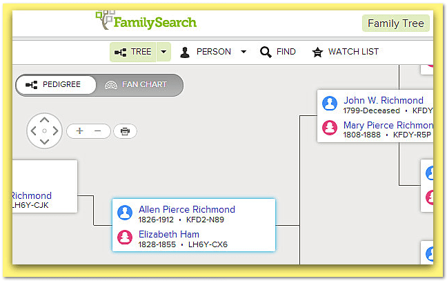 screenshot of FamilySearch Family Tree for Allen Pierce Richmond